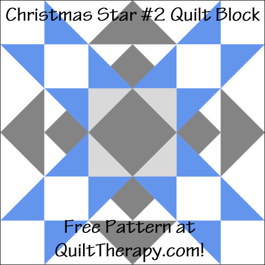"Christmas Star #2 Quilt Block Free Pattern for a 12"" quilt block at QuiltTherapy.com!"
