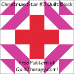 "Christmas Star #3 Quilt Block Free Pattern for a 12"" quilt block at QuiltTherapy.com!"