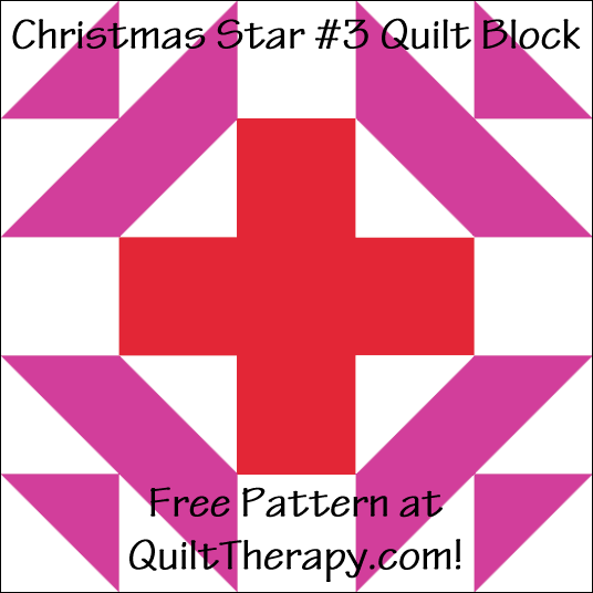 """Christmas Star #3 Quilt Block Free Pattern for a 12"""" quilt block at QuiltTherapy.com!"""