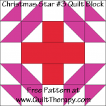 Christmas Star #3 Quilt Block Free Pattern at QuiltTherapy.com!