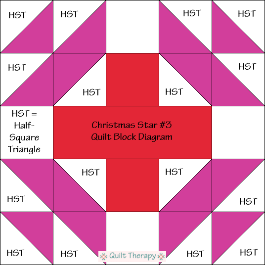 """Christmas Star #3 Diagram Free Pattern for 12"""" finished quilt block at QuiltTherapy.com!"""