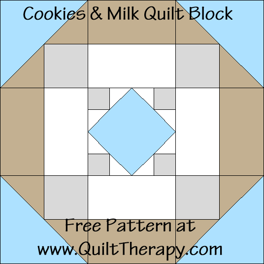 Cookies & Milk Quilt Block Free Pattern at QuiltTherapy.com!