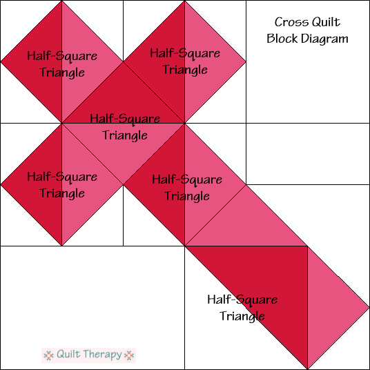"Cross Block Diagram Free Pattern for 12"" finished quilt block at QuiltTherapy.com!"