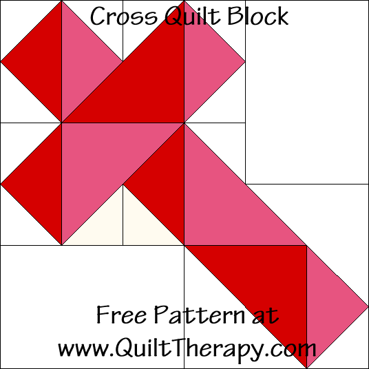 Cross Quilt Block Free Pattern at QuiltTherapy.com!