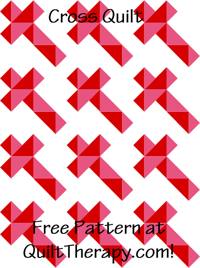 "Cross Quilt Free Pattern for a 36"" x 48"" quilt at QuiltTherapy.com!"