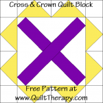 Cross and Crown Quilt Block Free Pattern at QuiltTherapy.com!
