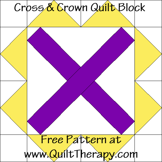 Cross & Crown Quilt Block Free Pattern at QuiltTherapy.com!