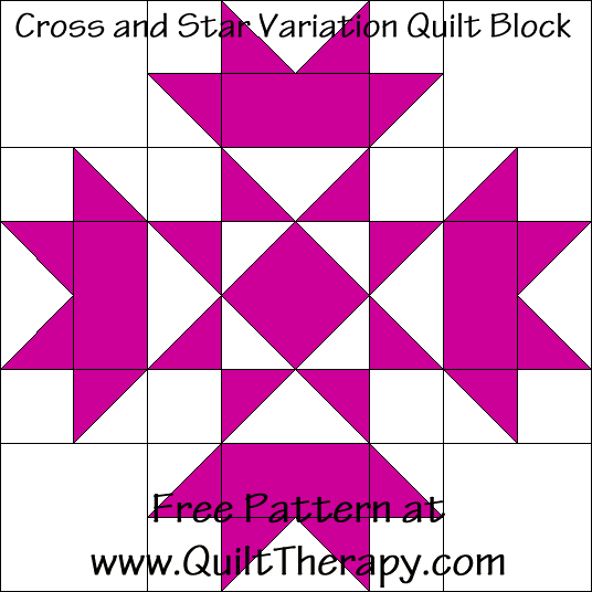 "Cross and Star Variation Quilt Block Free Pattern for a 12"" quilt block at www.QuiltTherapy.com!"