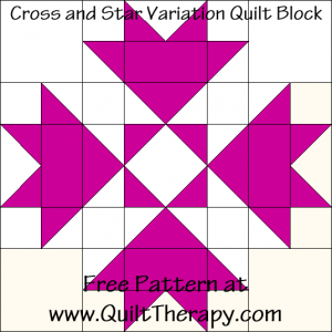 Cross and Star Variation Quilt Block Free Pattern at QuiltTherapy.com!