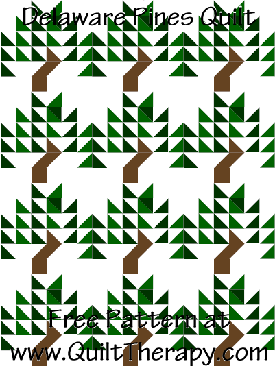 Delaware Pines Quilt Free Pattern at QuiltTherapy.com!