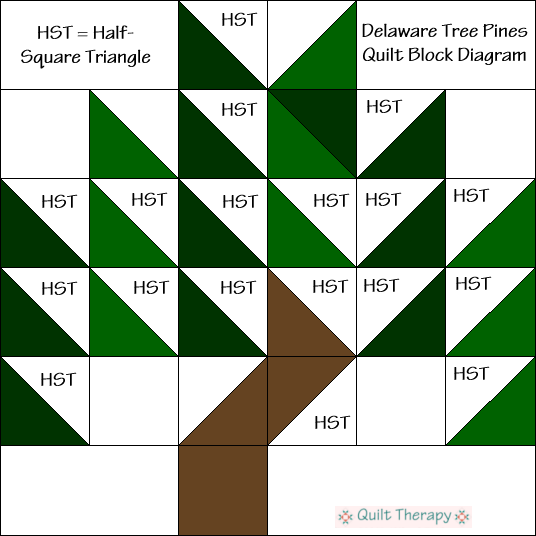 Delaware Pines Quilt Block Diagram Free Pattern at QuiltTherapy.com!