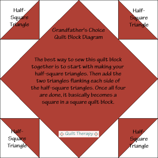 Grandfather's Choice Quilt Block Diagram Free Pattern at QuiltTherapy.com!