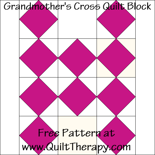 Grandmother's Cross Quilt Block Free Pattern at QuiltTherapy.com!