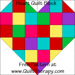 Heart Quilt Block Free Pattern at QuiltTherapy.com!