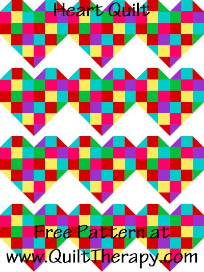 Heart Quilt Free Pattern at QuiltTherapy.com!
