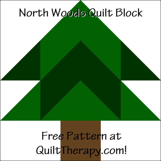 "North Woods Quilt Block Free Pattern for a 12"" quilt block at QuiltTherapy.com!"
