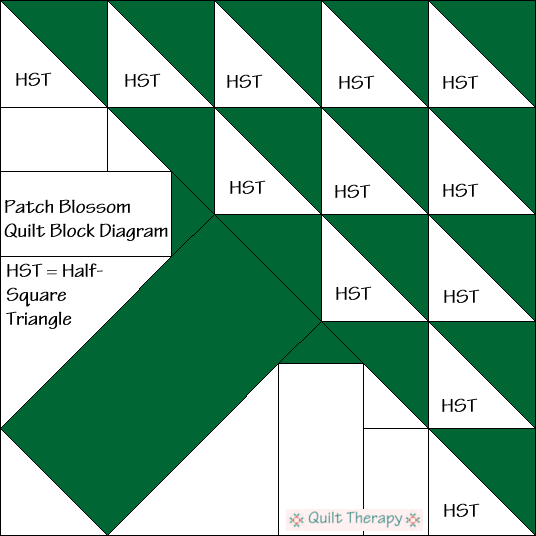 Patch Blossom Quilt Block Diagram Free Pattern at QuiltTherapy.com!