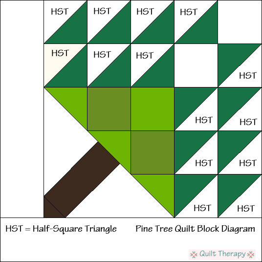 Pine Tree Quilt Block Diagram Free Pattern at QuiltTherapy.com!