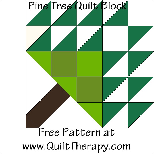 Pine Tree Quilt Block Free Pattern at QuiltTherapy.com!