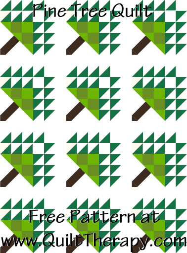 Pine Tree Quilt Free Pattern at QuiltTherapy.com!
