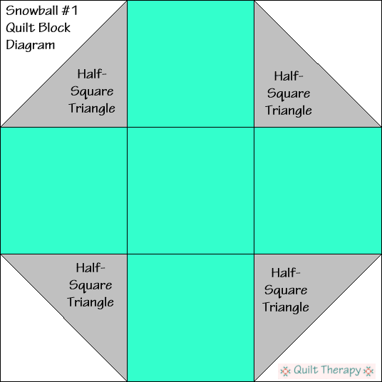 Snowball #1 Quilt Block Diagram Free Pattern at QuiltTherapy.com!