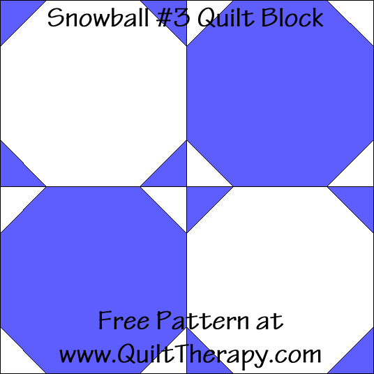 Snowball #3 Quilt Block Free Pattern at QuiltTherapy.com!