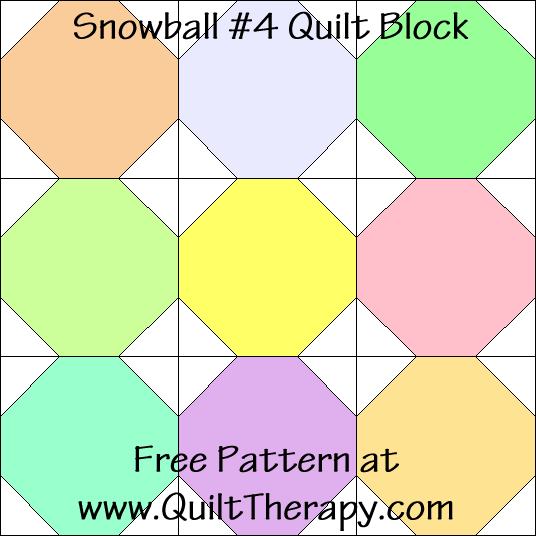 Snowball #4 Quilt Block Free Pattern at QuiltTherapy.com!