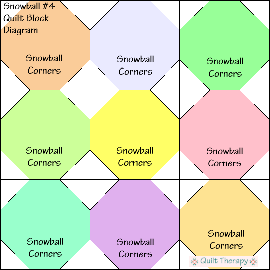 Snowball #4 Quilt Block Diagram Free Pattern at QuiltTherapy.com!