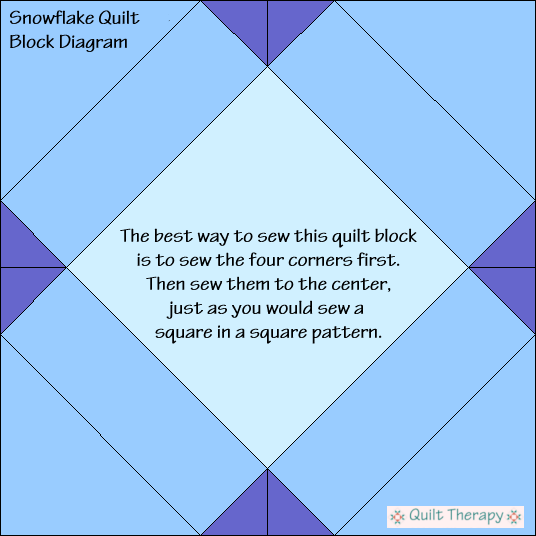 Snowflake Quilt Block Diagram Free Pattern at QuiltTherapy.com!