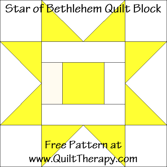 Star of Bethlehem Quilt Block Free Pattern at QuiltTherapy.com!