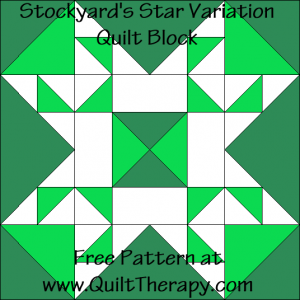 Stockyard's Star Variation Quilt Block Free Pattern at QuiltTherapy.com!