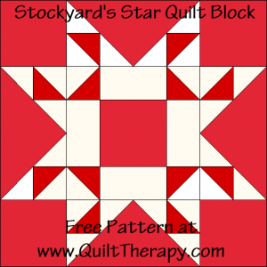 Stockyard's Star Quilt Block Free Pattern at QuiltTherapy.com!