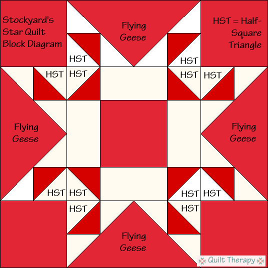Stockyard's Star Quilt Block Diagram Free Pattern at QuiltTherapy.com!