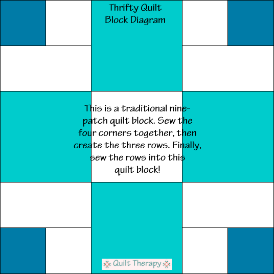 Thrifty Quilt Block Diagram Free Pattern at QuiltTherapy.com!
