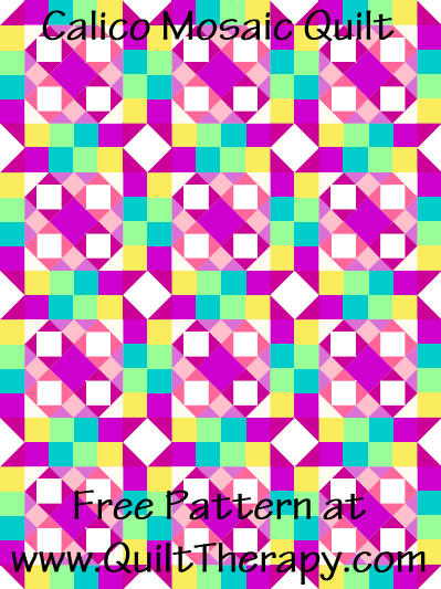 Calico Mosaic Quilt Free Pattern at QuiltTherapy.com!