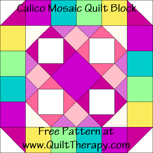 Calico Mosaic Quilt Block Free Pattern at QuiltTherapy.com!