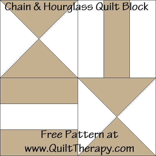 Chain & Hourglass Quilt Block Free Pattern at QuiltTherapy.com!