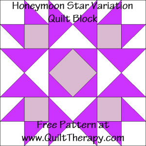 Honeymoon Star Variation Quilt Block Free Pattern at QuiltTherapy.com!