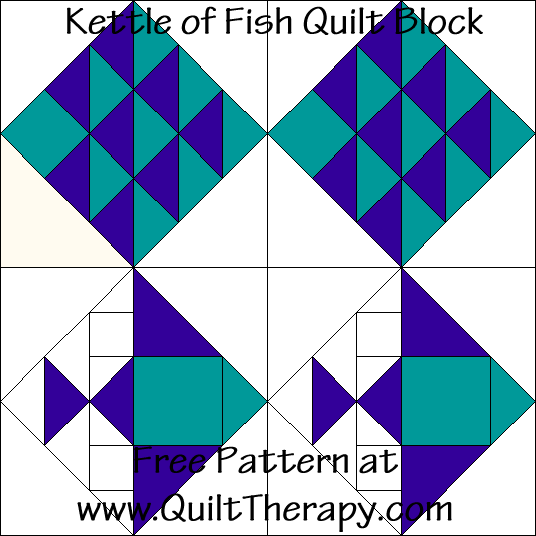 Kettle of Fish Quilt Block Free Pattern at QuiltTherapy.com!