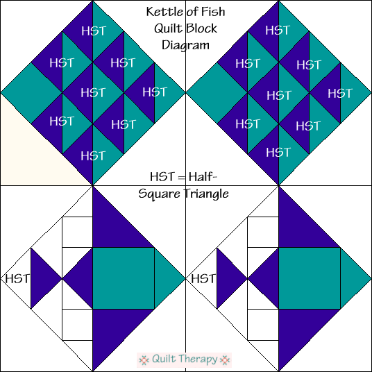 Kettle of Fish Quilt Block Diagram Free Pattern at QuiltTherapy.com!
