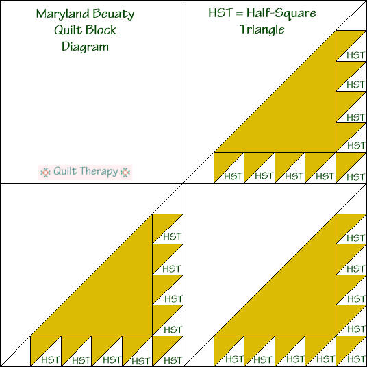 Maryland Beauty Quilt Block Diagram Free Pattern at QuiltTherapy.com!