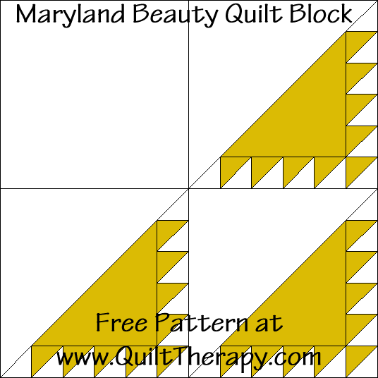 Maryland Beauty Quilt Block Free Pattern at QuiltTherapy.com!