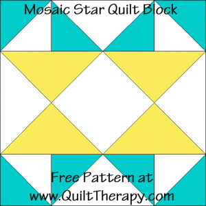 Mosaic Star Quilt Block Free Pattern at QuiltTherapy.com!