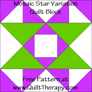 Mosaic Star Variation Quilt Block Free Pattern at QuiltTherapy.com!