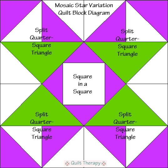 "Mosaic Star Variation Quilt Block Diagram Free Pattern for 12"" finished quilt block at QuiltTherapy.com!"