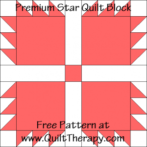 Premium Star Quilt Block Free Pattern at QuiltTherapy.com!