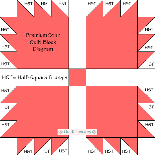 Premium Star Quilt Block Diagram Free Pattern at QuiltTherapy.com!