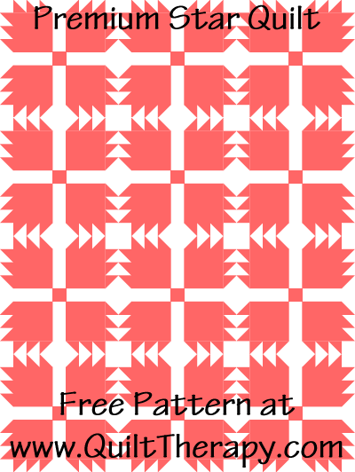 Premium Star Quilt Free Pattern at QuiltTherapy.com!