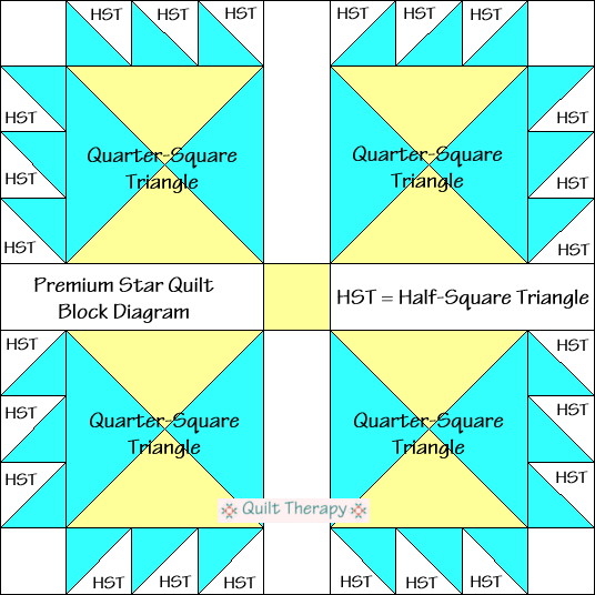 Premium Star Variation Quilt Block Diagram Free Pattern at QuiltTherapy.com!