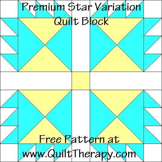 Premium Star Variation Quilt Block Free Pattern at QuiltTherapy.com!